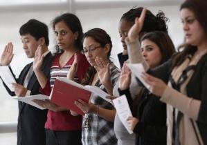Immigrant Women Taking Oath